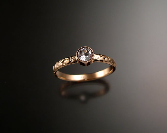 White Topaz ring 14k Rose Gold bezel set Victorian floral pattern deep blue Diamond substitute substitute ring made to order in your size