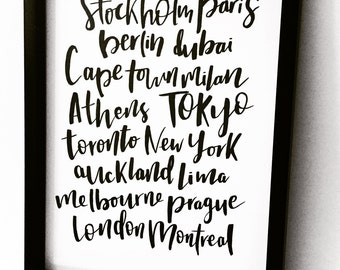 Custom Cities Handlettered Print