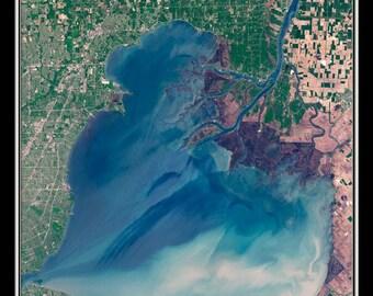 Lake St Clair Michigan - Ontario Satellite Poster Map