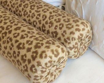 PAIR cheetah print linen bolster pillows 6x14 6x16 6x18 6x20 6x22