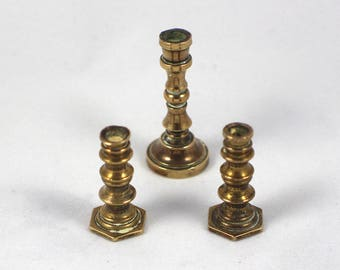Pair of Tiny Dollhouse Brass Candle Sticks Plus one Other Plain Ring Design Metal Miniature Candlesticks
