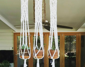 3 Pot Hemp Macrame Hanger on Bamboo