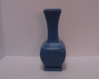 "RumRill Pottery Vase, Empire Group, #686, 11"" tall, Dutch Blue with White Stipple"