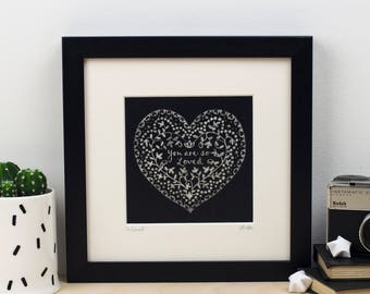 You are So Loved chalkboard print - Valentine's Print - Gift for mum - gift for daughter - Gift for grandma-
