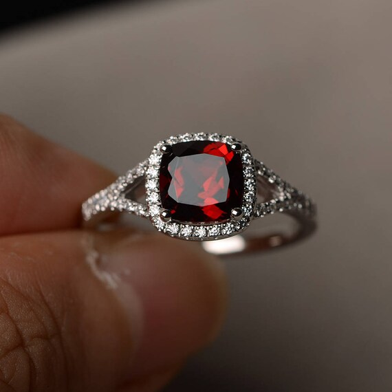 natural garnet ring promise ring january birthstone cushion. Black Bedroom Furniture Sets. Home Design Ideas