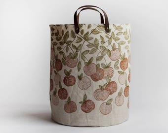 Orchard Large Basket. Hamper. Bucket Bag. Storage Bag. Tote. Yarn Basket. Knitting Bag. Fabric Bucket.