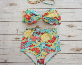 Bikini High Waisted Swimsuit - Vintage Style Retro Pin-up Swimwear -  Pretty Floral Print Bathing Suit - Aqua Blue Yellow and Red Print