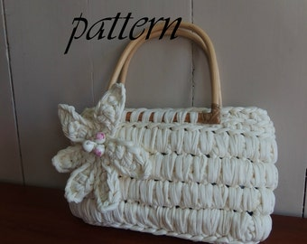 Digital crochet pattern Zpagetti bag with bamboo handles/download crochet pattern Zpagetti handbag/crochet pattern Zpagetti zomertas.