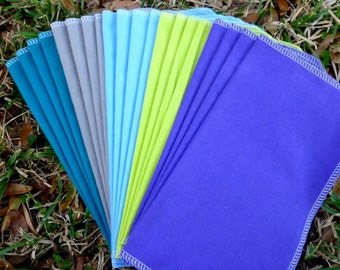 Eco Friendly Cloth Napkins - 20-24 Reusable Paper Towels - Every Day - Casual - Paperless - 10 x 12 Single Layer