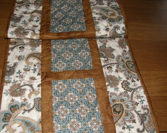 Blue Brown Quilted Table Runner, Floral Paisley Table Runner, Moroccan Table Runner, Paisley Quilt, Brown Blue Quilted Table Topper, Quilt