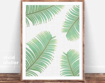 Tropical Leaves, Leaf Print, Fern Print, Printable Palm Leaf, Palm Digital Print, Palm Poster, Palm Art Print, Botanical Leaf Art, Botanical