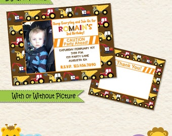 Construction Equipment Invitation • Birthday Invitation • Birthday Invite • Boy • Toddler • Heavy Machines • Construction • Second • Third