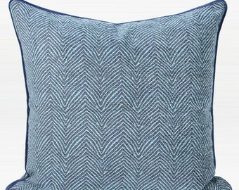 "Luxury Blue Chevron Jacquard Pillow 20""X20"""