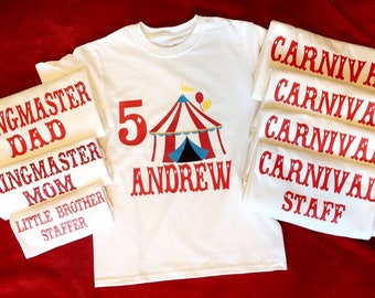 Carnival Themed Birthday - Carnival - Circus - Ringmaster Mom - Ringmaster Dad - Carnival Staff - Personalized Shirts