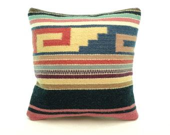 Authentic Zapotec Textile Accent Pillow - Colorful Home Decor