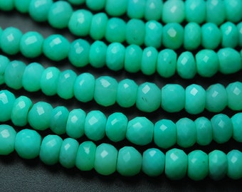 15 Inch Strands,Turquoise Green Chalcedony Faceted Rondelles Shape Beads,7-7.5mm Size,