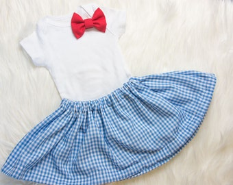 Dorothy Halloween Skirt and bow Set- Dorothy Halloween costume, blue gingham skirt and red bow