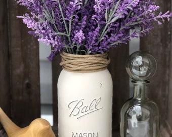 Lavender flowers in ivory chalk painted quart size mason jar