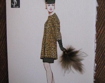 "1964 Yves St. Laurent ""Ocelot evening coat""Fashion Illustration 5x7 note card"
