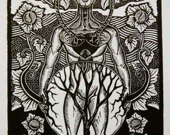 Sound of the Soul, man and nature connected in harmony original woodblock print