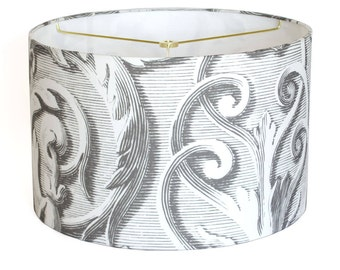 MEDIUM Linen Scroll Works Linen Lamp Shade - Gray and White Baroque Scroll Lampshade - 10 11 12 Inch Custom Made to Order