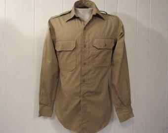Vintage shirt, military shirt, Army shirt, 1940s shirt, khaki cotton shirt, US Army, vintage clothing, medium