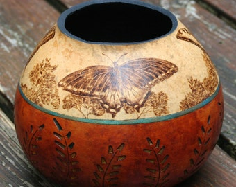 Butterflies pyrography wood burned Gourd Vase