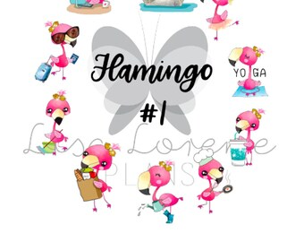 FLAMINGO Activity SAMPLER and INDIVIDUAL sheets   Planner Stickers for all planners   C5