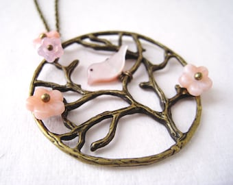 Cherry Blossom Necklace. tree necklace. branch necklace