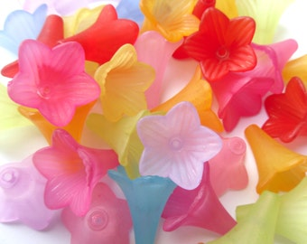 10 or 20 Mixed Color Frosted Acrylic Lily Beads 22mm     -C1B3-2