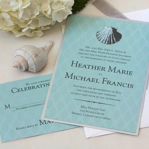Vintage Beach Wedding Invitations: Vintage Sea Shell Wedding Invitation Beach Wedding Invitation