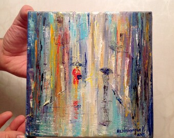 Rain Painting Canvas Tiny Canvas Small Painting Miniature Painting Wall Art Canvas Anniversary Gift Modern Painting Ukrainian Impressionism