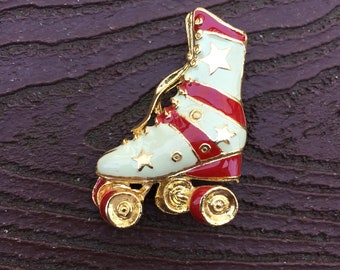 Vintage Jewelry Totally Awesome 80s Enamel Roller Skate Pin Brooch