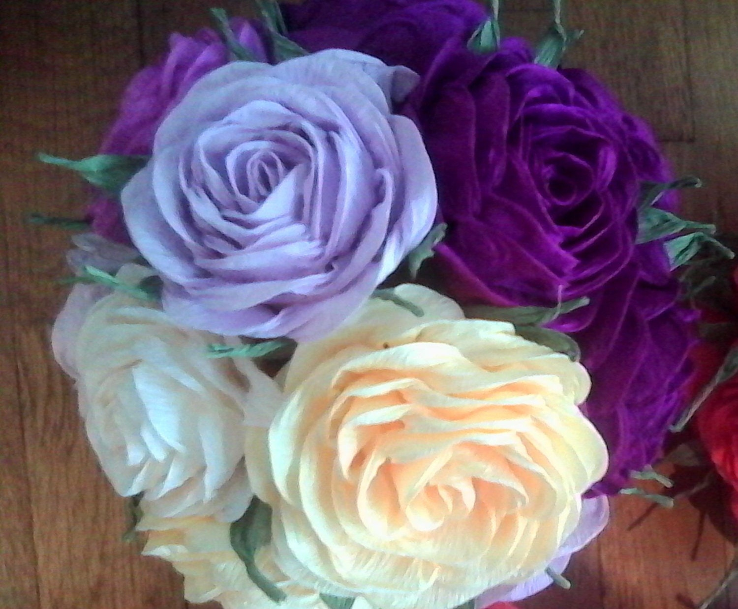 Crepe Paper Flowers Kissing Ball Purple Lavender Lilac Plum