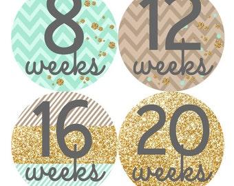 12 Pregnancy Belly Stickers Weekly Sticker Baby Bump Sticker Maternity Photo Prop Tummy Sticker Shower Gift Gold Mint Chevron 049P
