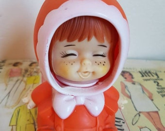 Rare Kitsch Orange Vintage  face change moody emotions Baby hood Iwai Iwaisan Made in Japan nursery decor squeak toy collectable
