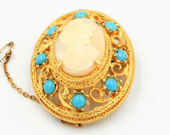 Gilt domed filigree brooch mount with cameo and turquoise