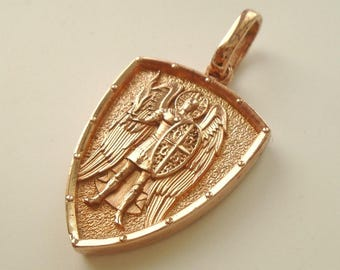 Gold Saint St. Michael Archangel cross shield prayer medal sterling silver 925 pendant necklace