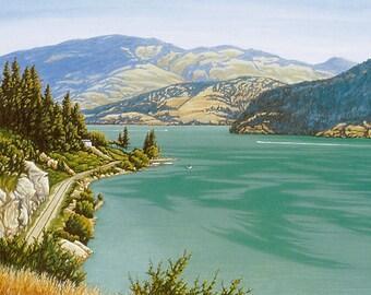 """LAKE SCENE - """"Kalamalka Lake"""" - Limited Edition Watercolor Print of a beautiful Okanagan Valley Lake."""