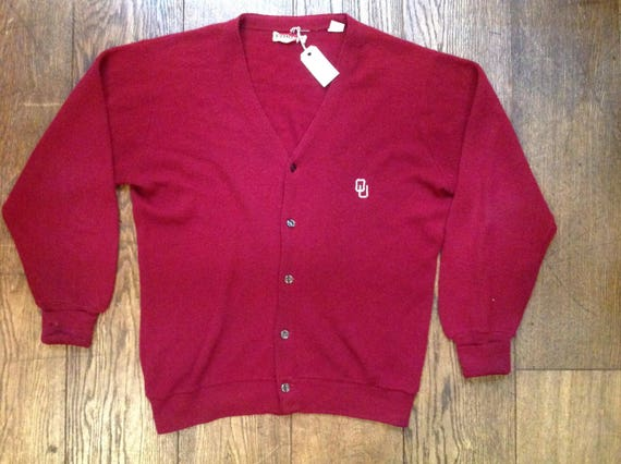 """Vintage 1970s 70s red burgundy Izod OU cardigan sweater button up Ivy League style 48"""" chest mod Orlon made in USA"""