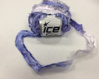 1 skein super bulky luxurious white and lavender ombre feathered Ice brand yarn