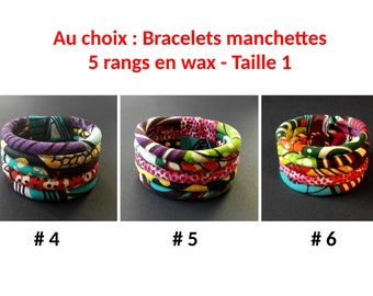 Your choice: cuff Bracelets 5 rows wax #4 and #5 #6 size 1-100% cotton - OOAK - original gift idea