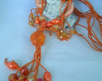 Orange Long Necklace - Knotted Acrylic/Plastic Round Beads & Rings - Multistranded Hemp Cord - Statement Necklace - Summer Jewelry Gift idea