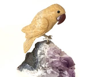 Carved Stone Parrot on Amethyst Drusy Crystal