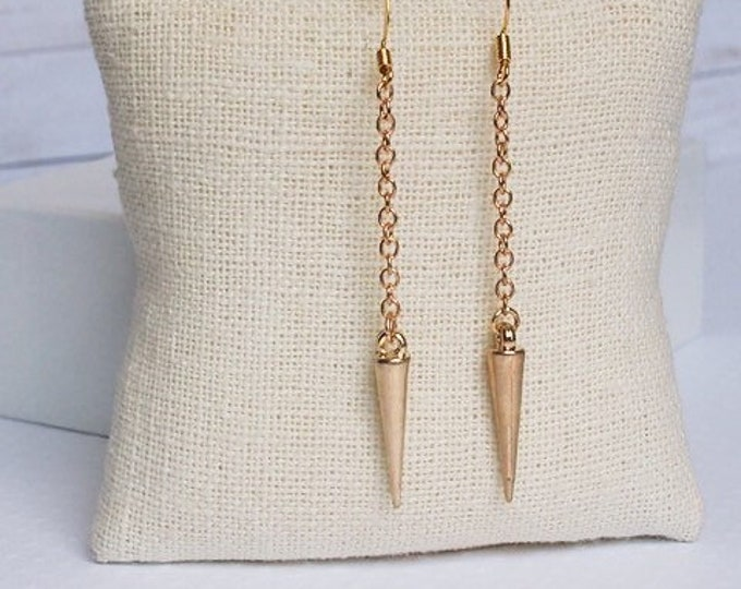 Gold Athena Drop Earrings, Dangle Earrings, Spike Jewelry, Boho Jewelry, Gold Earrings, 14k gold plated hooks