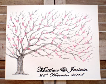 Cherry Blossom Tree, Medium Fingerprint Wedding Guest book, Hand Drawn in ink, includes 2 ink pads and pen