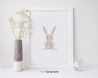 Bunny Illustration, Nursery Art, Black and White, Kids, Children's art, Modern Art Print, Poster, wall decor, woodland, Kids Print