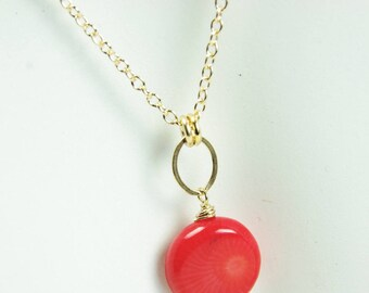 Red Coral Necklace Small Pendant Delicate 14kt Gold Filled Chain Resort Bridal Bridesmaid Jewelry 35th Wedding Anniversary Gift Handcrafted