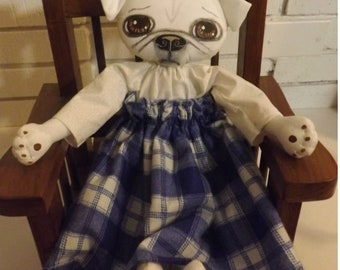 SALE, Pug,Dog Doll,Primitive Art Doll,Art Doll,Folk Art Doll,Folk Art Dog,Pet Art,Pug Art,Whimsical,Shabby Chic,Cloth Doll,Home Decor,Animal