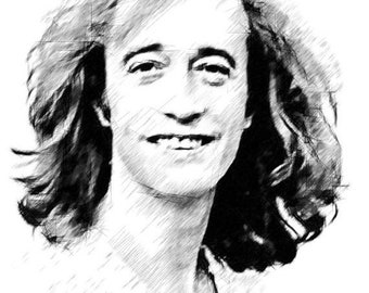 40% OFF SALE Robin Gibb Drawing Art T shirt Barry Gibb Bee Gees  Drawings R Available